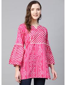Women Pink & White Cotton Bandhani Print Tunic