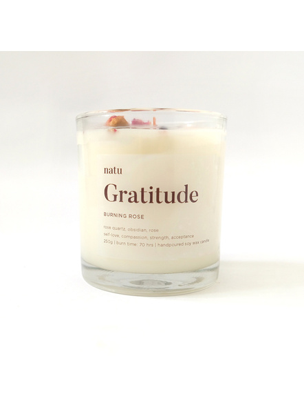 Gratitude - Soy and Beeswax Scented Candle with Rose Quartz and Obsidian Healing Crystals for Mindfulness Meditation-NTU-GRA