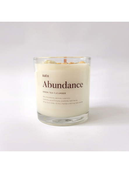 Abundance - Green Tea and Cucumber Scented Soy and Beeswax with Jade and Moonstone Healing Crystals Mindfulness Meditation-200g-2