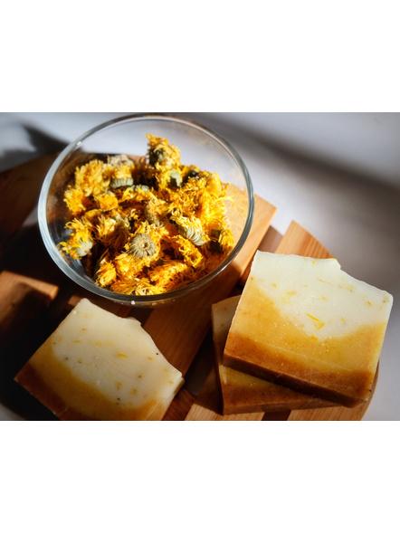 Calming Calendula and Chamomile Soap - naturally scented for sensitive skin-Woven Soap Saver Scrubber-1