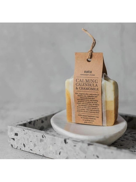 Calming Calendula and Chamomile Soap - naturally scented for sensitive skin-Woven Soap Saver Scrubber-2