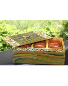 Handpainted The Madhubani Royal Kulhad Tray, 7 pcs