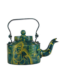 Handpainted The Ajanta Magic Bamboo Aluminium Serving / Decorative Kettle