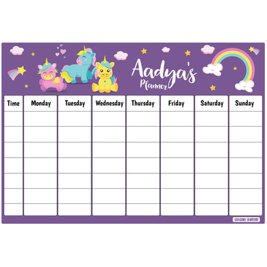 Baby Unicorn Theme Re-Writable Weekly Planner-PPTM2