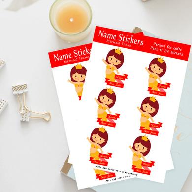 Mermaid Theme Name Stickers-PPNM2