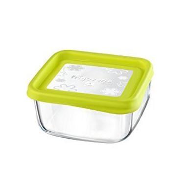 Bormioli Rocco Frigoverre Fun Square Glass Container with Green Lid-17496