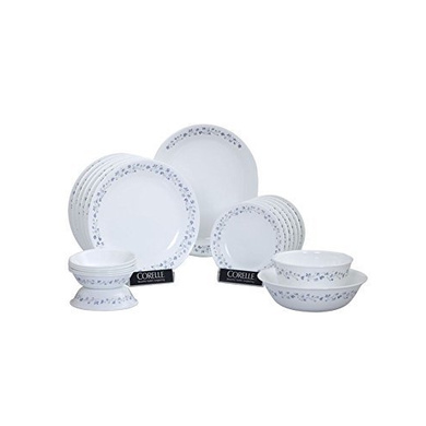 Corelle Lilac Blush Glass Dinner Set, 21-Pieces, White and Blue-13353