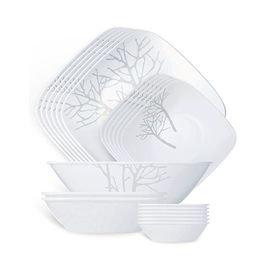 Corelle Square Round Frost Sq Dinner Set, 21-Pieces-3619