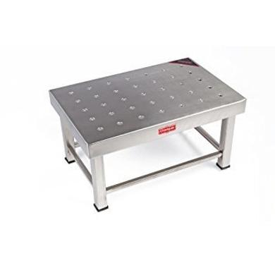 Champak Silver Rectangular Bathroom Stainless Steel Stool-4269