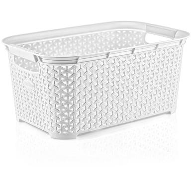 HOBBY LIFE 26 Litre Plastic Rattan Rectangular Laundry Basket-9876