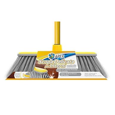 Apex Fibre Bristles Delicata Broom With Telescopic Handle And Comb, 140 x 30 Cm, Yellow-4637