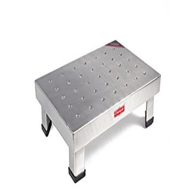 Champak Silver Rectangular Bathroom Stainless Steel Stool-4268
