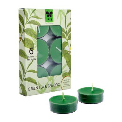 Iris Aroma Wax Candles Green, Set of 6-16567