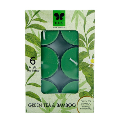 Iris Aroma Wax Candles Green, Set of 6-2