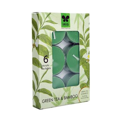 Iris Aroma Wax Candles Green, Set of 6-3