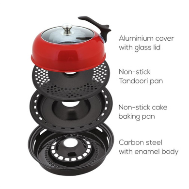 Wonderchef Aluminium Gas Oven Tandoor Duo 4-Pieces, 30cm, Red & Black-1