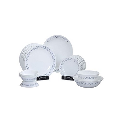 Corelle Lilac Blush Glass Dinner Set, 21-Pieces, White and Blue-12862