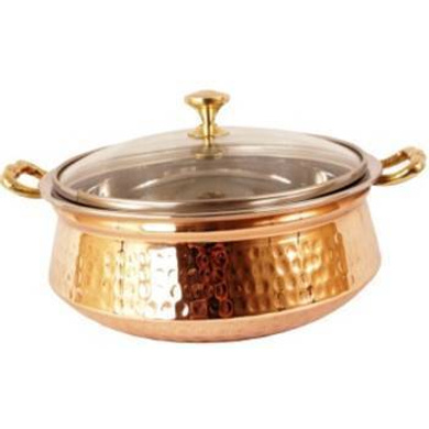 SAGA Serving Pot Handi with Lid and Handle for Serving Dishes (Copper) NO.4 1000ml-9440