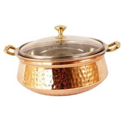 SAGA Serving Pot Handi with Lid and Handle for Serving Dishes (Copper) NO.2 500ml-9438