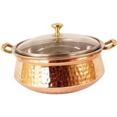 SAGA Serving Pot Handi with Lid and Handle for Serving Dishes (Copper) NO.3 700ml-9439