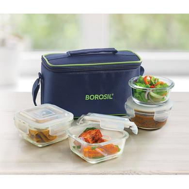 Borosil Glass Universal Lunch Box Set of 4, (2pcs 320 ml sq. + 2pcs 240 ml Round) Microwave Safe Office Tiffin-33047