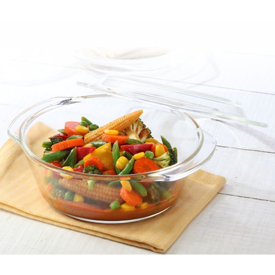 Borosil Glass Casserole - Oven And Microwave Safe Serving Bowl With Glass Lid, 1L-36166