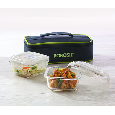 Borosil Glass Lunch Box Set of 2, 320 ml, Horizontal Microwave Safe Office Tiffin-37012