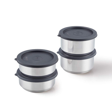 Borosil Carry Fresh Stainless Steel Insulated Lunch Box Set of 4, (2pcs 280 ml + 2pcs 180 ml)-2