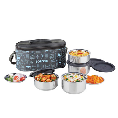 Borosil Carry Fresh Stainless Steel Insulated Lunch Box Set of 4, (2pcs 280 ml + 2pcs 180 ml)-42800