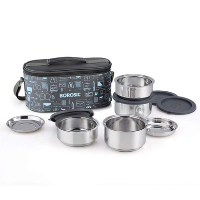 Borosil Carry Fresh Stainless Steel Insulated Lunch Box Set of 4, (2pcs 280 ml + 2pcs 180 ml)-1