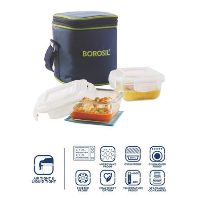 Borosil Glass Lunch Box Set of 2, 320 ml, Vertical, Microwave Safe Office Tiffin-1
