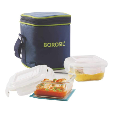 Borosil Glass Lunch Box Set of 2, 320 ml, Vertical, Microwave Safe Office Tiffin-14594