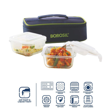 Borosil Glass Lunch Box Set of 2, 320 ml, Horizontal Microwave Safe Office Tiffin-1