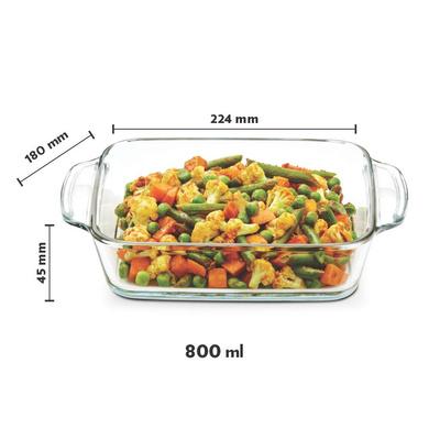 Borosil Square Dish with Handle, 800ml-4