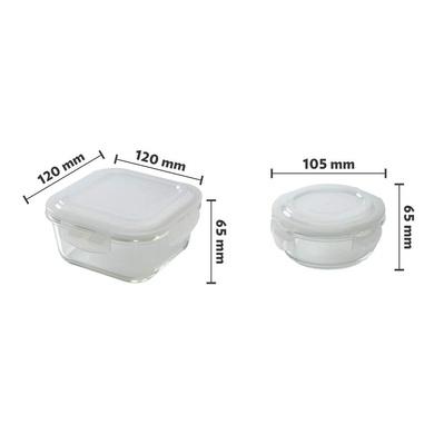 Borosil Glass Universal Lunch Box Set of 4, (2pcs 320 ml sq. + 2pcs 240 ml Round) Microwave Safe Office Tiffin-2