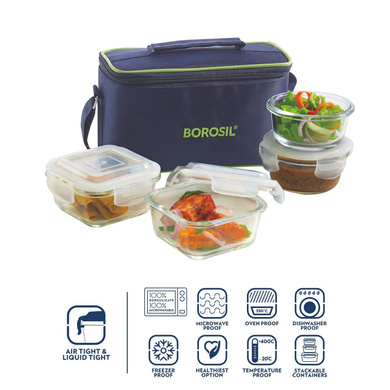 Borosil Glass Universal Lunch Box Set of 4, (2pcs 320 ml sq. + 2pcs 240 ml Round) Microwave Safe Office Tiffin-1
