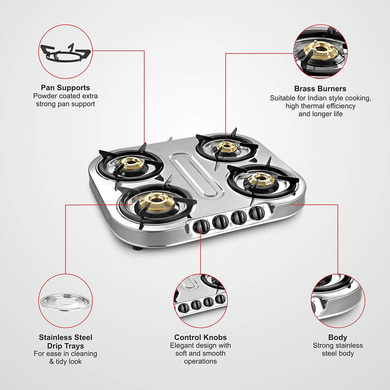 Sunflame Cooktop Spectra Delux 4 Burner Stainless Steel Gas Stove-3