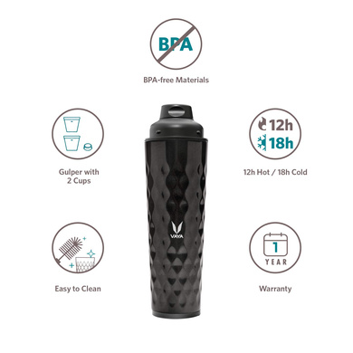 Vaya Drynk 600 ml - Vacuum Insulated Stainless Steel Thermos Flask, Water Bottle (with Gulper lid and 2 Cups) - Shiny Black-3