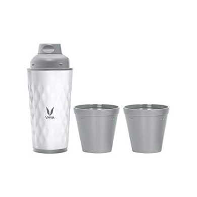 Vaya Drynk 350 ml - Vacuum Insulated Stainless Steel Thermos Flask, Water Bottle (with Gulper lid and 2 Cups) - White-38628