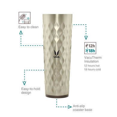 Vaya Drynk 600 ml Vacuum Insulated Stainless Steel Flask, Thermos Sipper Water Bottle (Tumbler+Sipper), Graphite-42347