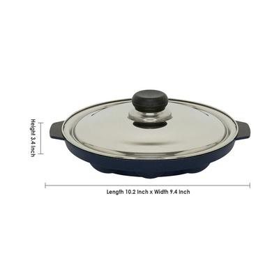 Vinod Cookware Non Stick Round Paniyarakkal with Lid, 22 cm, Aluminium-22cm-3