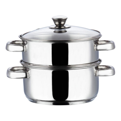 Vinod Stainless Steel 2 Tier Steamer with Glass Lid - 20 cm (Induction Friendly)-1