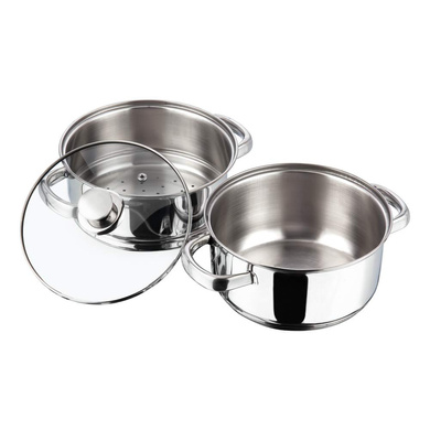 Vinod Stainless Steel 2 Tier Steamer with Glass Lid - 20 cm (Induction Friendly)-2