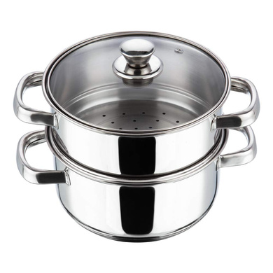 Vinod Stainless Steel 2 Tier Steamer with Glass Lid - 20 cm (Induction Friendly)-9327
