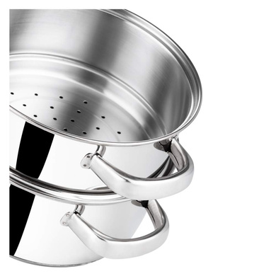 Vinod Stainless Steel 2 Tier Steamer with Glass Lid - 20 cm (Induction Friendly)-4