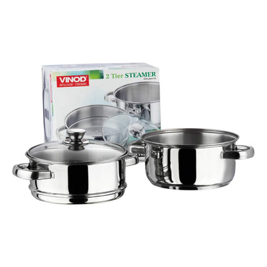 Vinod Stainless Steel 2 Tier Steamer with Glass Lid - 20 cm (Induction Friendly)-5