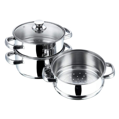 Vinod Stainless Steel 3 Tier Steamer with Glass Lid -20 cm (Induction Friendly)-1