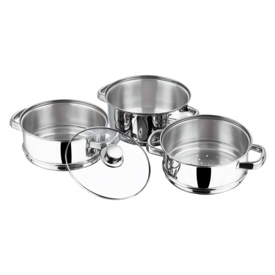 Vinod Stainless Steel 3 Tier Steamer with Glass Lid -20 cm (Induction Friendly)-2