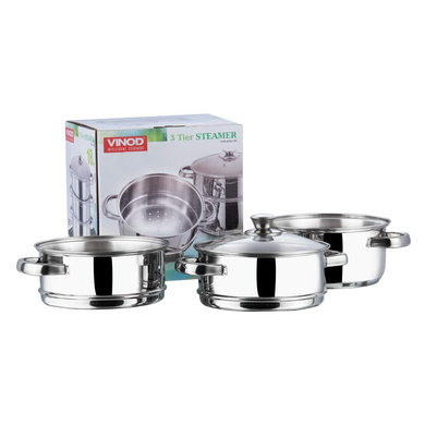 Vinod Stainless Steel 3 Tier Steamer with Glass Lid -20 cm (Induction Friendly)-4