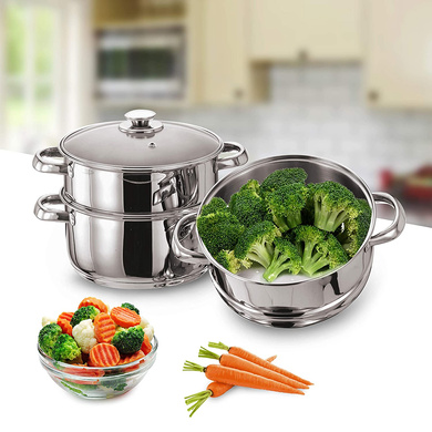 Vinod Stainless Steel 3 Tier Steamer with Glass Lid -20 cm (Induction Friendly)-5